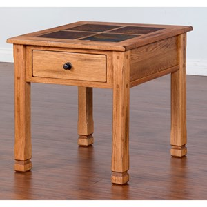 Rustic End Table with Slate Top