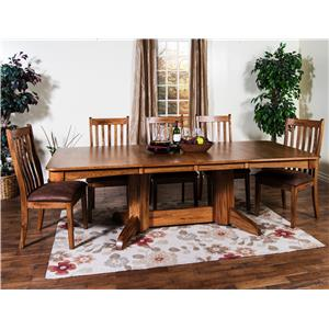 Sunny Designs Sedona 5-Piece Trestle Table w/ 2 Leaves Set