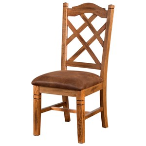 Rustic Double Crossback Chair with Upholstered Seat