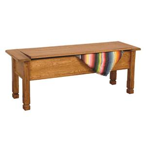 Rustic Oak Side Bench with Storage