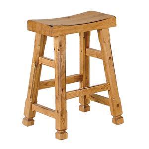 Rustic Oak Saddle Seat Barstool