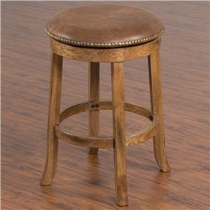 Backless Upholstered Swivel Counter Stool