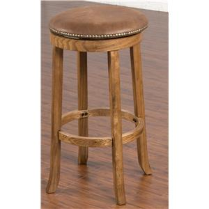 Backless Upholstered Swivel Stool