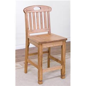 Rustic Oak Slatback Barstool