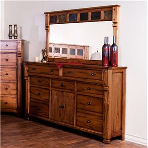 Rustic Dresser with Doors & Mirror with Genuine Slate