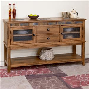 Rustic Oak Server w/ 2 Drawers and Slate Tile