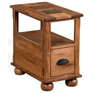 Rustic Chair Side Table with Natural Slate