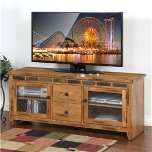 "62"" TV Console with Rustic Oak and Slate"