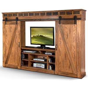 Entertainment Wall with Sliding Barn Doors and Slate Tiles