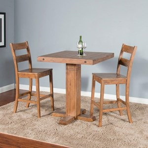 Casual Style 3-Piece Dining Set with Adjustable Height Table