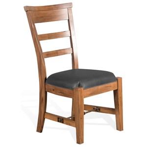 Rustic Side Chair with Cushion Seat