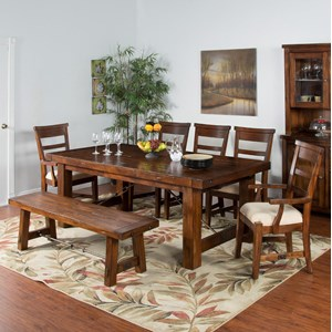 Sunny Designs Tuscany 7-Piece Extension Table Set with Bench