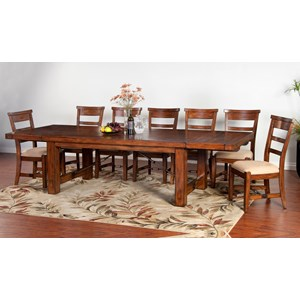 Distressed Mahogany 8-Piece Extension Table Set