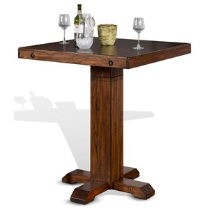 Adjustable Height Pub Table with Distressed Finish