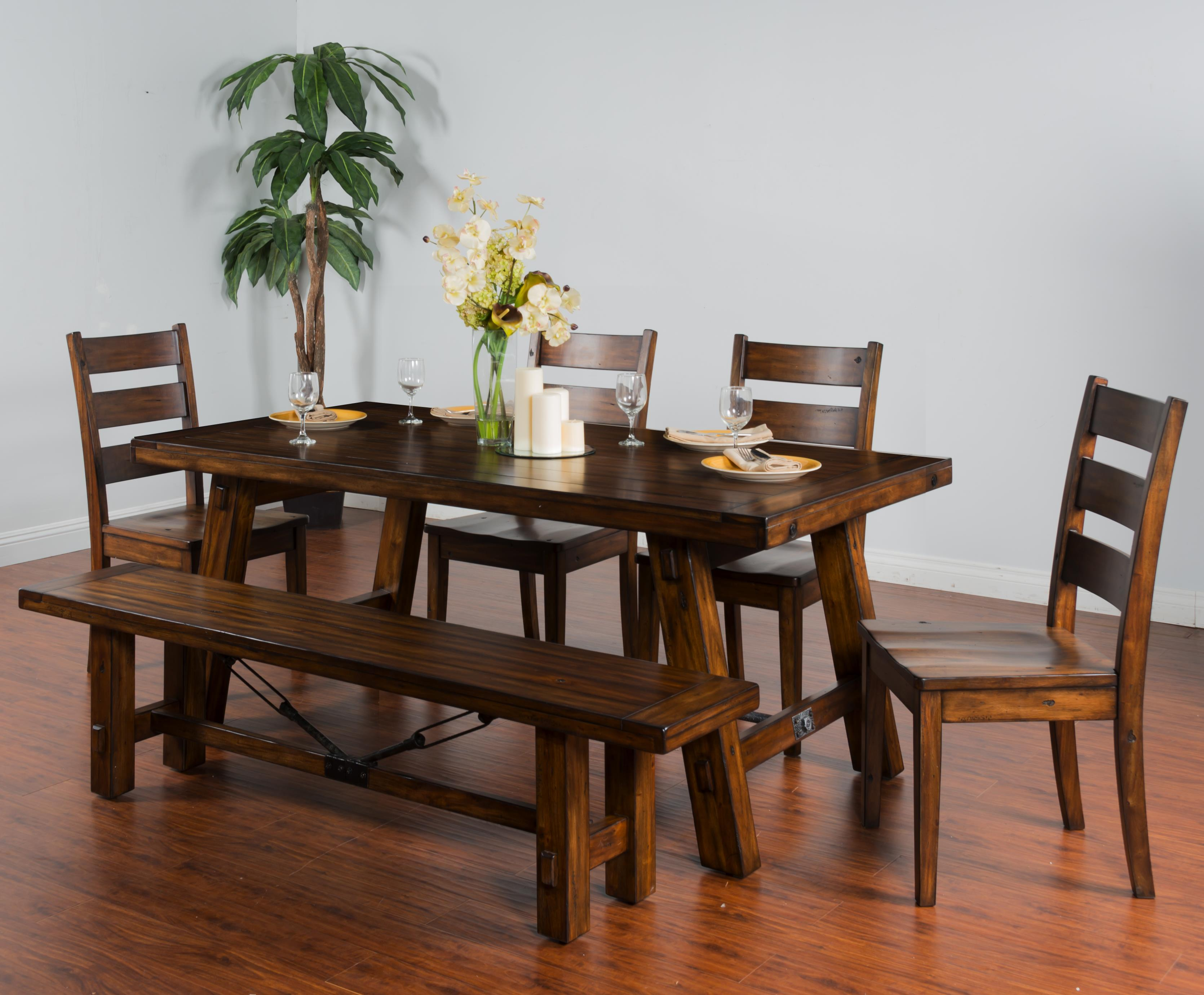 Tuscany 6-Piece Extension Table Set with Bench by Sunny Designs at Sparks HomeStore