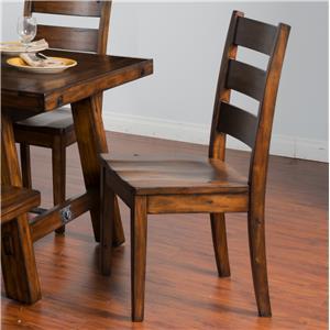 Distressed Mahogany Ladderback Chair w/ Wood Seat