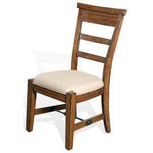 Distressed Mahogany Side Chair with Ladderback and Upholstered Seat