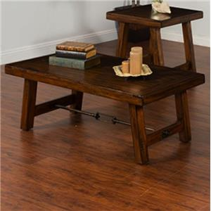 Distressed Mahogany Coffee Table with Turnbuckle Accent