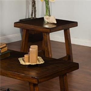 Distressed Mahogany End Table