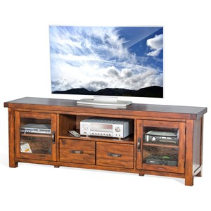 "Rustic 74"" TV Console with Distressed Finish"
