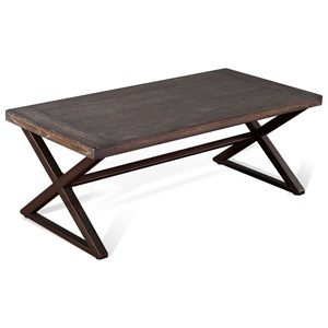 Industrial Coffee Table with Metal Base