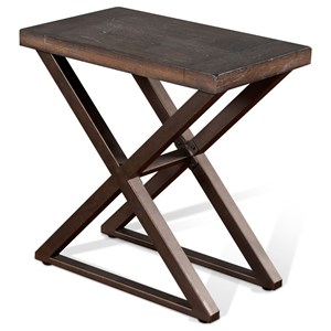 Industrial Chair Side Table with Metal Base