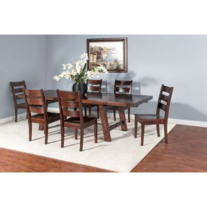 Rustic 7 Piece Dining Set with Extendable Table