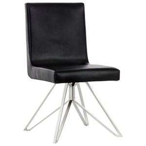 Clouse Swivel Dining Chair with Stainless Steel Base