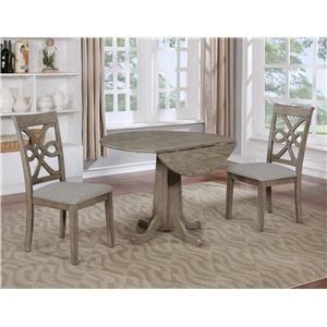3PC Drop-Leaf Table & Chair Set