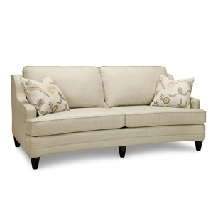 Transitional Curved Sofa with 2 Toss Pillows
