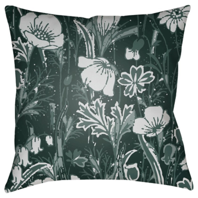 Chinoiserie Floral Pillow by Surya at Del Sol Furniture