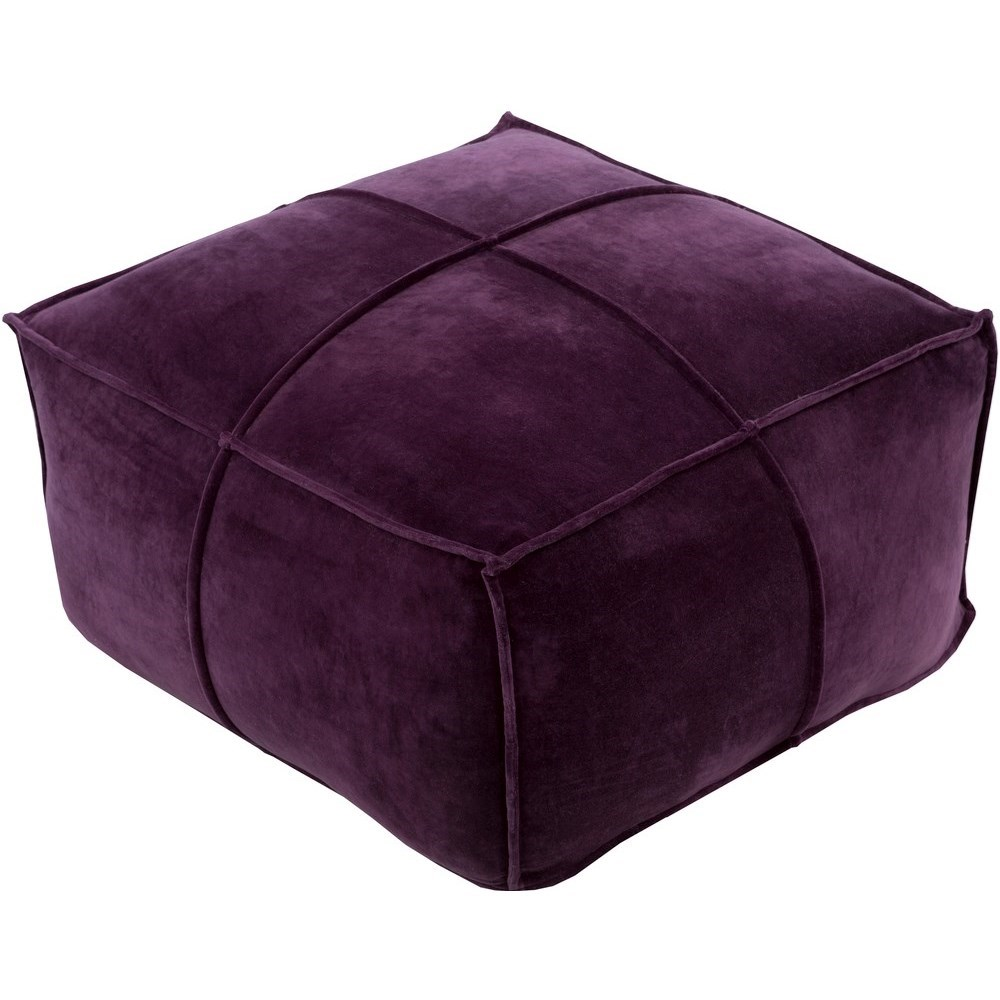 Cotton Velvet 24 x 24 x 13 Cube Pouf by Surya at Upper Room Home Furnishings