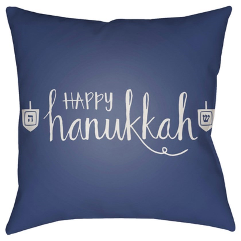 Happy Hannukah Pillow by Surya at Upper Room Home Furnishings