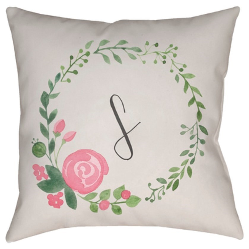 Initials II Pillow by Surya at Adcock Furniture