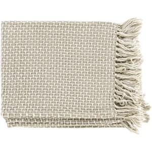 Sea Foam and White Throw Blanket