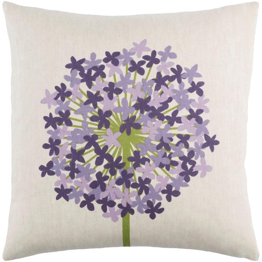 Agapanthus 18 x 18 x 4 Down Throw Pillow by Ruby-Gordon Accents at Ruby Gordon Home