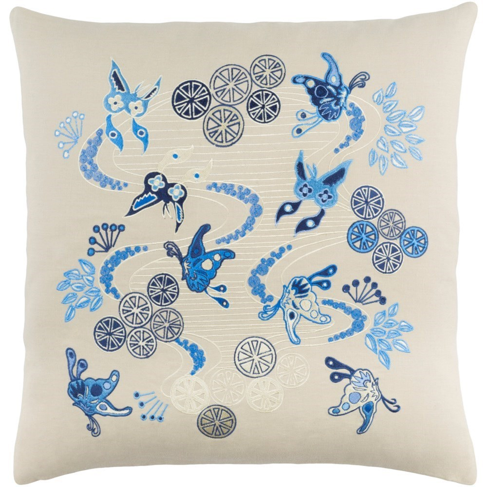 Chinese River 22 x 22 x 5 Down Throw Pillow by Surya at SuperStore