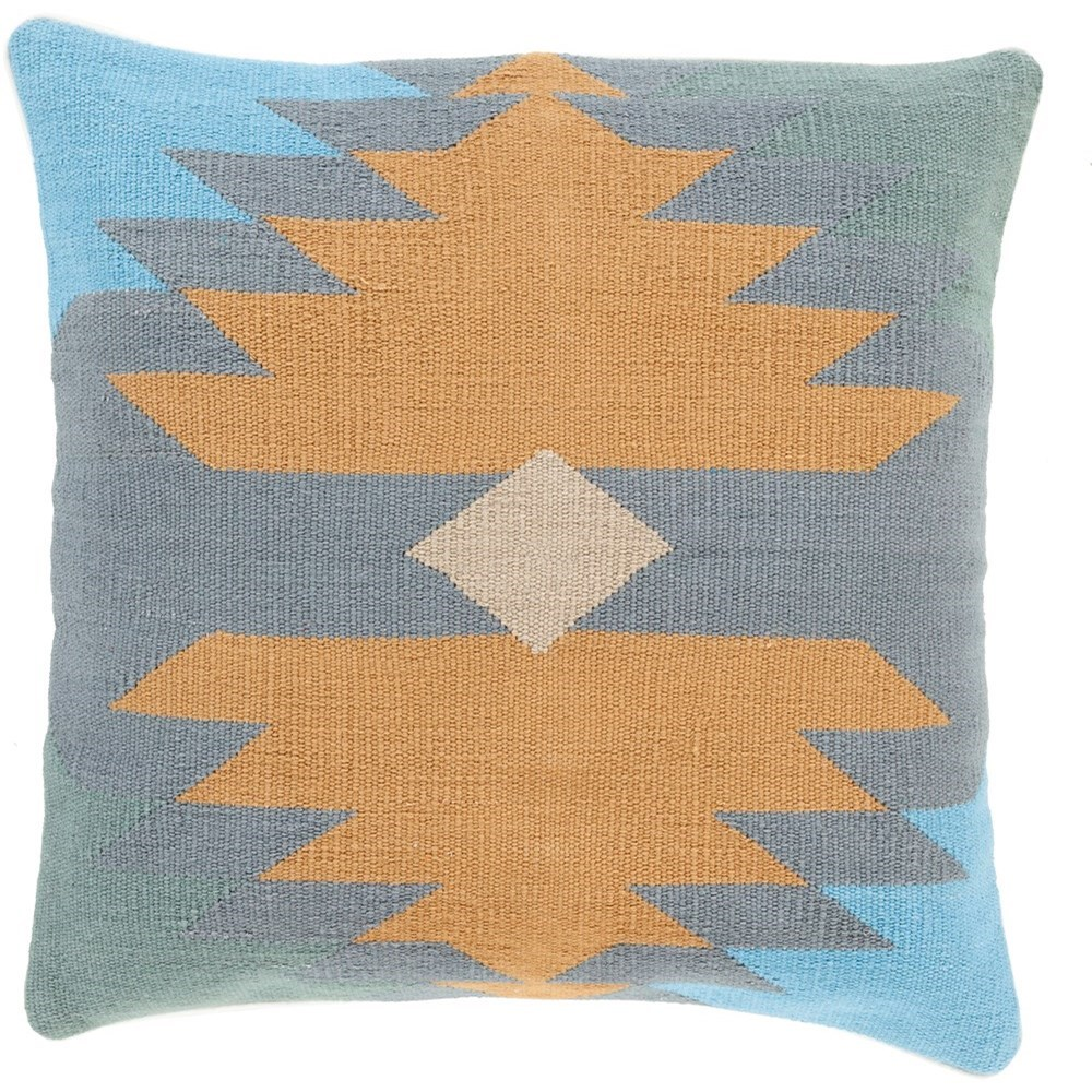 Cotton Kilim 22 x 22 x 5 Down Throw Pillow by Ruby-Gordon Accents at Ruby Gordon Home