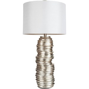 Aged Silvertone Leaf Contemporary Table Lamp