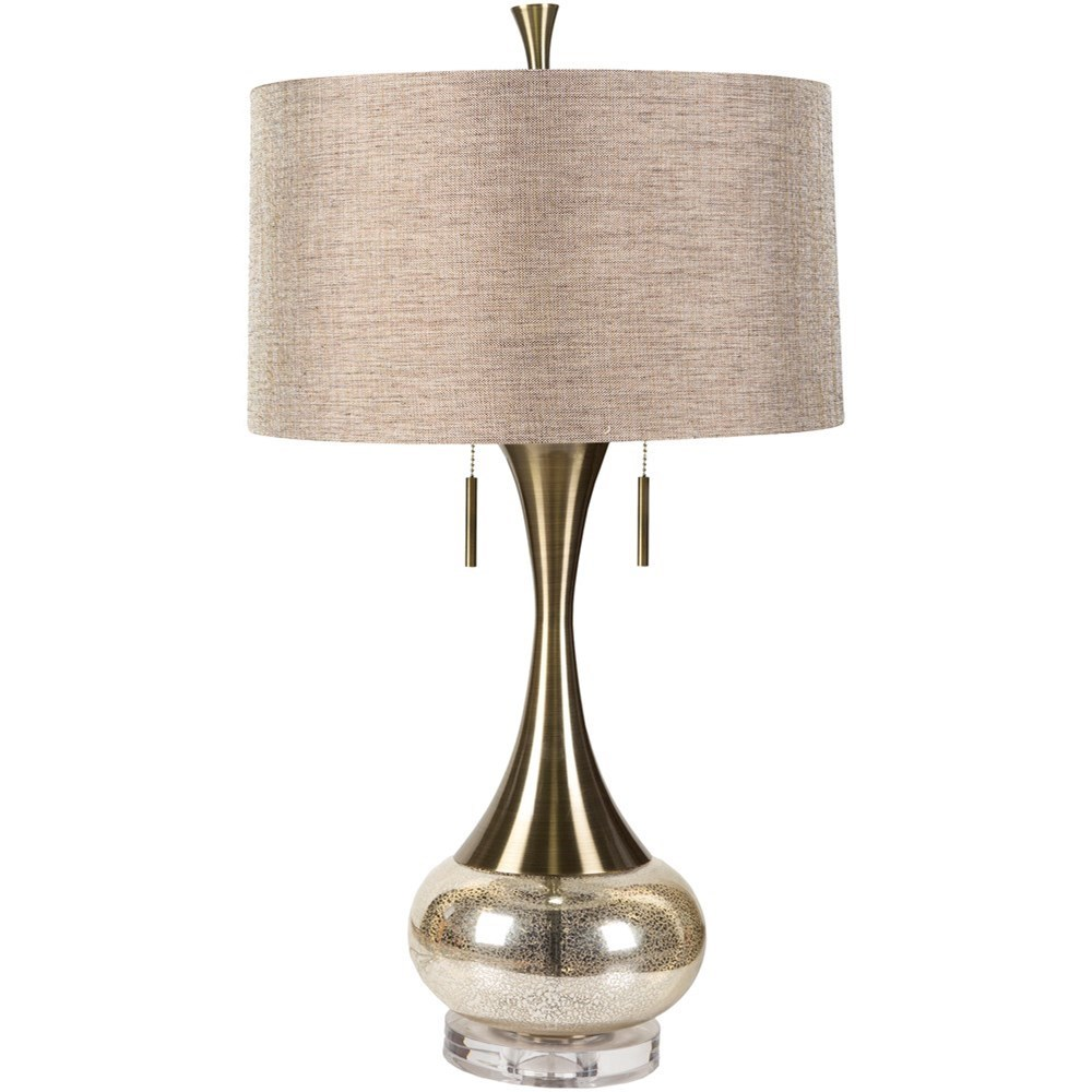 Lamps Aged Brass/Mercury Glass Glam Table Lamp by 9596 at Becker Furniture