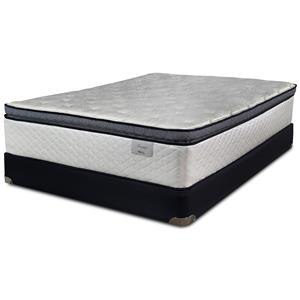Queen Coil on Coil Pillow Top Mattress and Wood Foundation