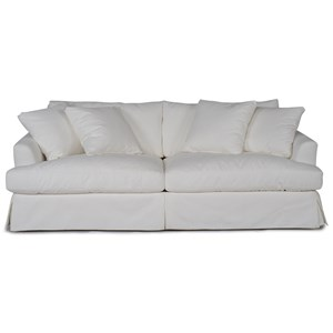 Stationary 2-Seater Skirted Sofa with Slipcover
