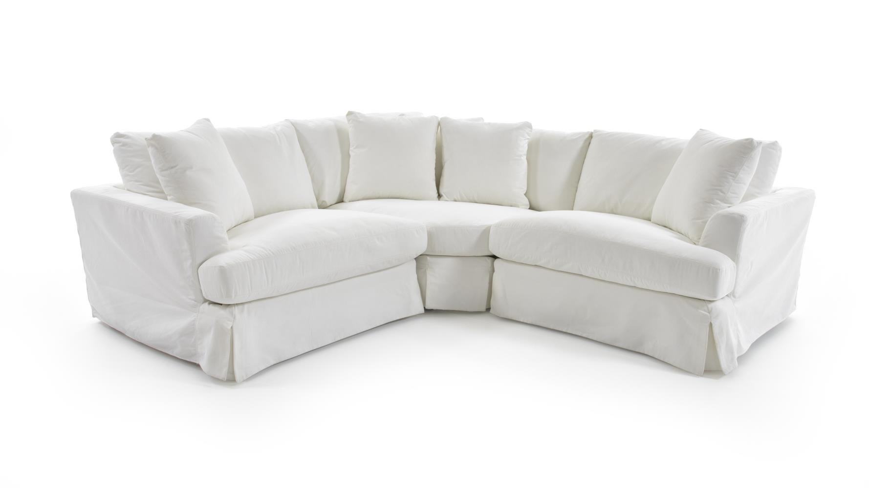 Three Piece Corner Sectional Sofa with Slipcover