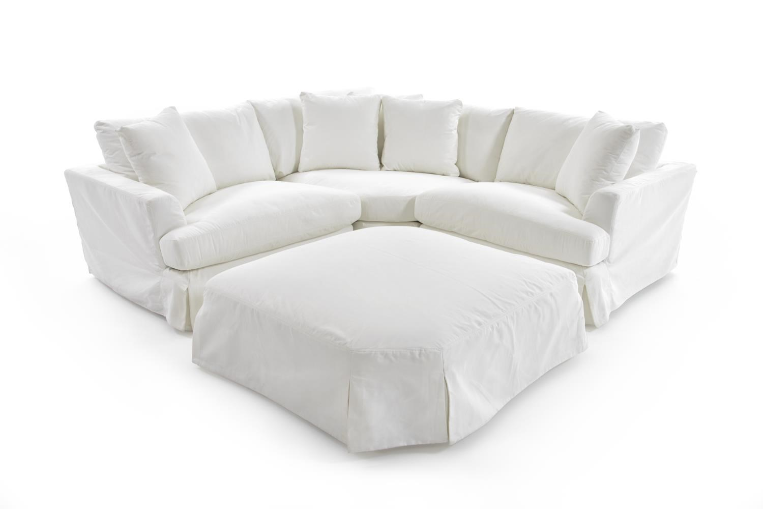 Three Piece Slipcover Sectional with Shaped Cocktail Ottoman