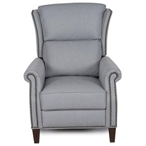 Wing Back Push Thru Arm Recliner with Nailhead Trim