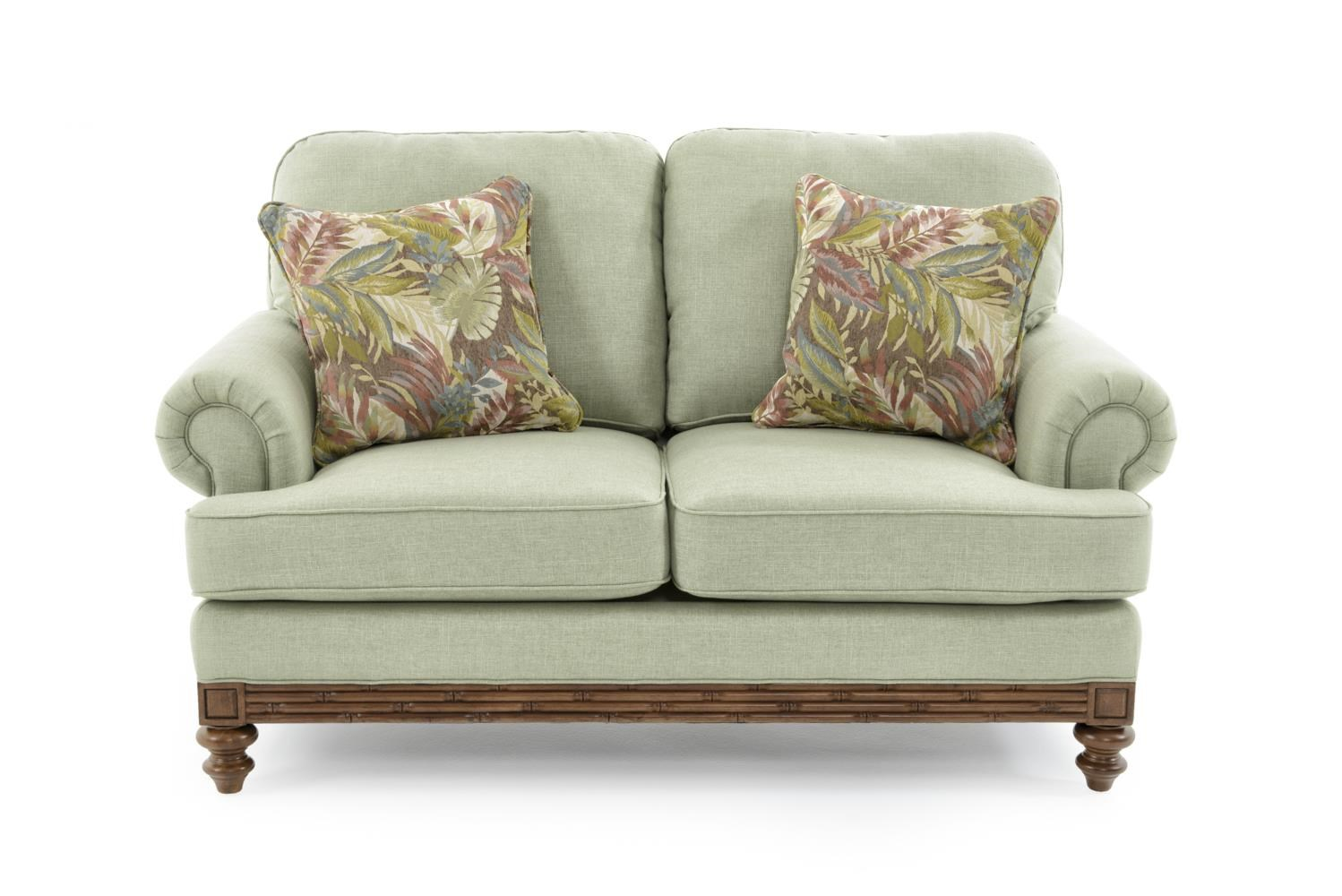 Loveseat with Turned Wood Legs
