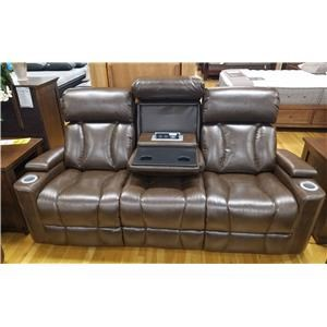 Contemporary Power Reclining Sofa w/ Pwr Headrests & Drop Down Table