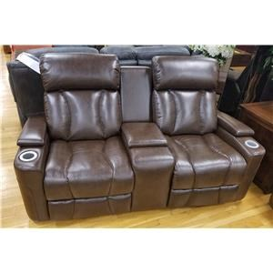 Contemporary Power Reclining Loveseat w/ Power Headrests & Console