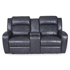 Power Reclining Console Loveseat with Power Tilt Headrests and USB Charging Ports