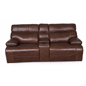 Power Reclining Console Loveseat with Power Head/Lumbar and Central Console Controls